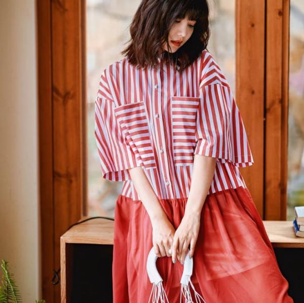 Runway Designer Stripe Shirt Dress Half Sleeve Button Down Patchwork Short Dress Women Summer Vestidos
