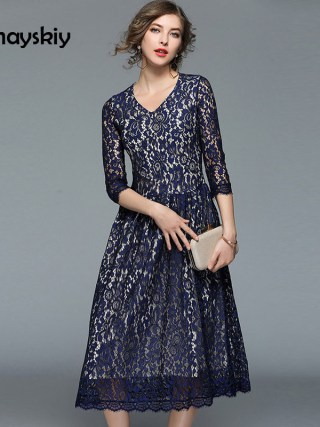 19 Spring Summer Vintage Lace Dress Women's Slim V-neck Lace-up Vestido Femme Half Sleeve Party Office Long Dresses Dunayskiy