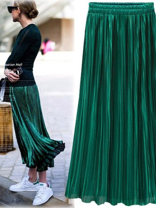 Silver Gold Pleated Skirt Womens Vintage High Waist Skirt 18 Winter Long Warm Skirts New Fashion Metallic Skirt Female