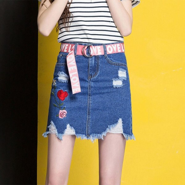 3XL Denim Skirt 17 Women Spring Summer Slim Embroidery Mini Skirt Jeans Hole Womens High Waist Office Pencil Denim Skirts CS17