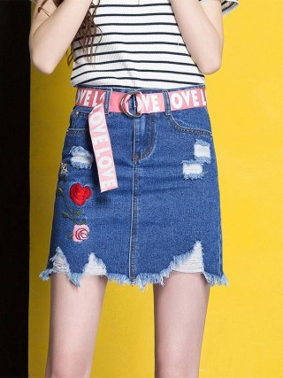 3XL Denim Skirt 17 Women Spring Summer Slim Embroidery Mini Skirt Jeans Hole Womens High Waist Office Pencil Denim Skirts CS17
