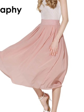 Solid Long Chiffon Skirts 18 Summer All-match Pink Maxi Pleated Chiffon Skirt High Waist A Line Chiffon Pleated Maxi Skirts