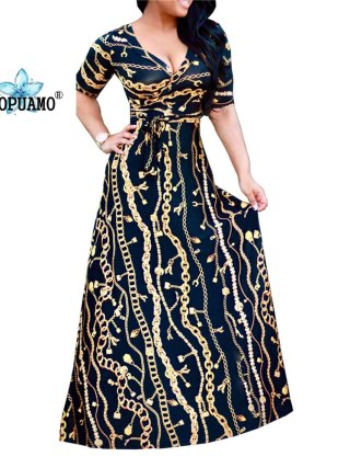 18 New Arrival Women Maxi Dresses V-Neck half Sleeve Womens Fashion Iron chain print Long Party Dress D1150-1152 sexy dress