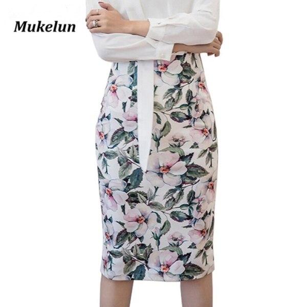 S-5XL Spring Summer Vintage Skirts Women High Waist Slim Novelty Print Fashion Lady Bandage Pencil Skirt Saias Plus Size