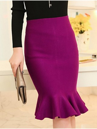 high waist skirts womens 16 knit midi Fish Tail ruffles hip Skirt Saias Femininas FS0198