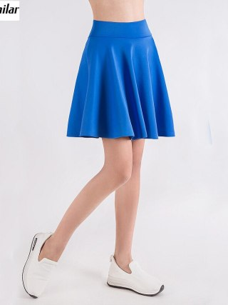 free shipping Women Flared Skater Skirt Basic Solid Color Mini Skirt Above Knee Versatile Stretchy Pleated Casual Skirt 5 sizes
