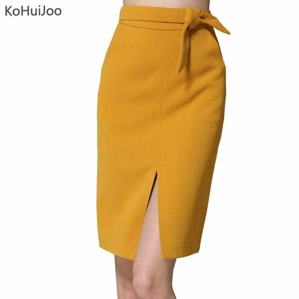 KoHuiJoo 19 Spring Autumn Women Big Bow Skirt Black Yellow Gray Solid Front Slit Skirts High Quality Slim Ladies Pencil Skirts