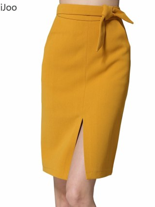 KoHuiJoo 19 Spring Autumn Women Big Bow Skirt Black Yellow Gray Solid Front Slit Skirts High Quality Slim Ladies Pencil Skirts