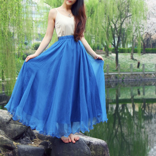 Bohemian Chiffon Beach Skirts Womens High Waist Pleated Long Skirt Ladies Casual Maxi Skirts Saia Faldas Color Blue Green Red