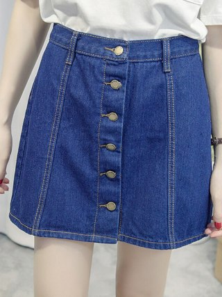 Single-breasted Denim Skirt for Women Vintage High Waist Saia Jeans Feminino Summer Faldas Mini Jupe Female Plus Size Skirts