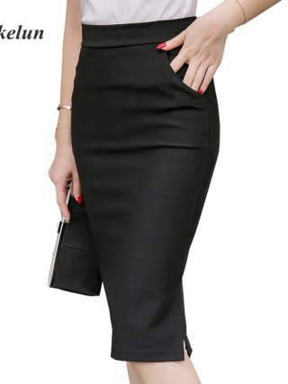 19 Sexy Women Work Skirt Slim Bodycon Summer High Waist Pockets Split Formal OL Office Ladies Black Plus Size Pencil Skirts