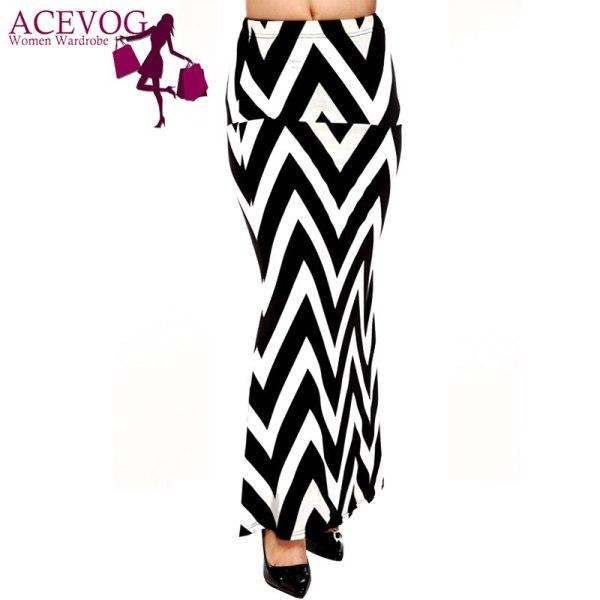 ACEVOG Brand Women Maxi Long Skirt Fashion Ladies Geometric Pattern Casual Stretch Skirt Saia Feminina 4 Seasons