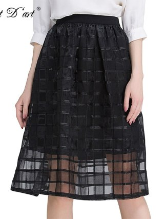 Classic Women Mesh Skirts Worsted Plaid Patchwork Skirt Elegant High Waist Organza Gauze Tulle Black Striped Casual A-Line Skirt