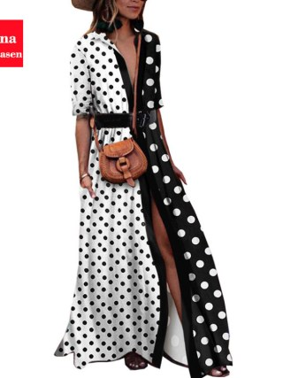 Vana Javeasen Autumn Half Sleeve Women Dress Dot Print V-Neck Woman's Clothing Sashes Evening Party Black Long Dresses Womens
