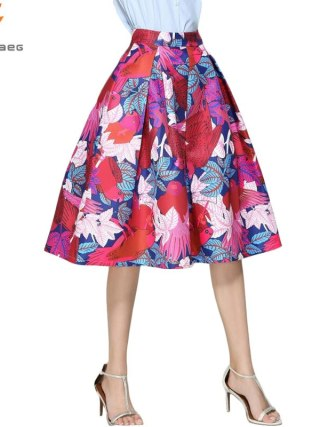 Faldas Vintage 18 Retro Big Swing Red Skirt Print Cartoon A-Line Saias Midi Skirts High Waist Elegant Tutu Pleated Jupe Femme