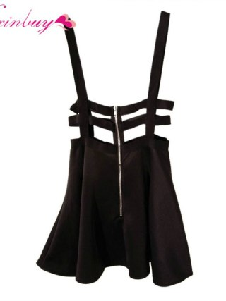 WEIXINBUY Women Girl Playsuit Skater Suspender Skirts Bandage Short Mini Strap Empire Skirts