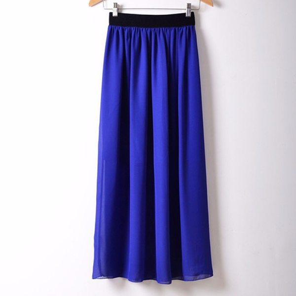 Free Shipping New Brand Designer Hot Sale Candy Colors High Quality Sexy Long Chiffon Skirt Pink Blue Black Red White Green C003