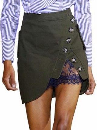 Self Portrait High Waist Mini Skirt 19 Summer Women Button Lace Patchwork Skirts