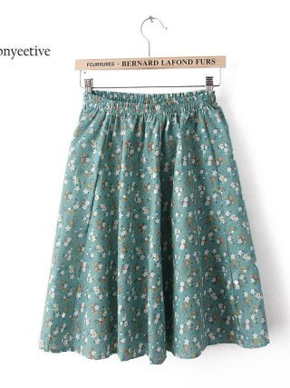 Leonyeetive 18 new Spring Summer Casual Floral Fashion linen Skirts Women Cotton Linen girl lady short Skirt