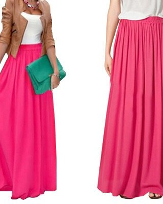 SK71 Long Skirt Elegant Style Women Pastel Jupe Pleated Chiffon Maxi Skirts Floor-Length Saia Vintage Saias Womens Solid Faldas