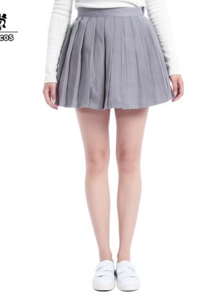 ROLECOS Plain Gray Girls Pleated Skirt School Patterns Preppy Sweet Style Women Skirt Summer CC34-QU-GY