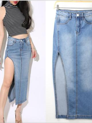 European style sexy high-open split package hip skirt light blue women long denim skirts