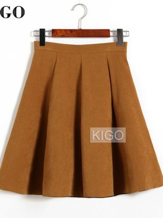 KIGO Autumn Winter Skirts Women 18 Suede Skirt High Waist Flared Skirt Knee-Length Midi Casual Vintage Skirt Faldas KJ1065H
