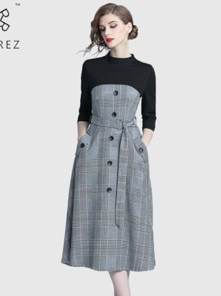 ROGREZ Grey Autumn Winter Casual Women Elegant Dress O Neck Half Sleeve Slash Slim Vestidos Office Long Dresses