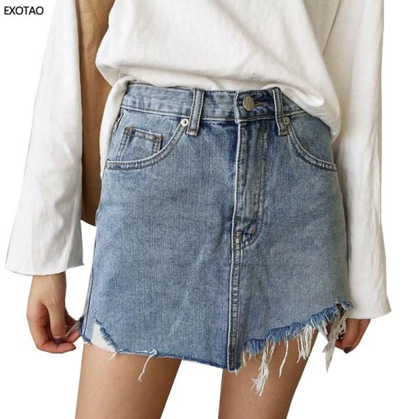 Summer Women's Skirt Short Sexy Denim Skirts Womens Irregular Brushed Hem Jean Mini Skirt Fashion Streetwear High Waist Skirt