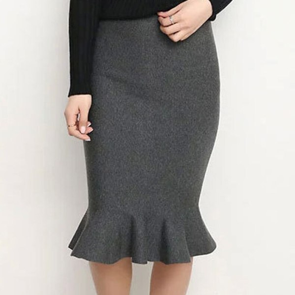 Women Knit Skirt High Waist elastic Ruffles Mermaid Skirts Female Slim Sexy Knitting Saia Autumn Winter Black Red Knitted Skirt