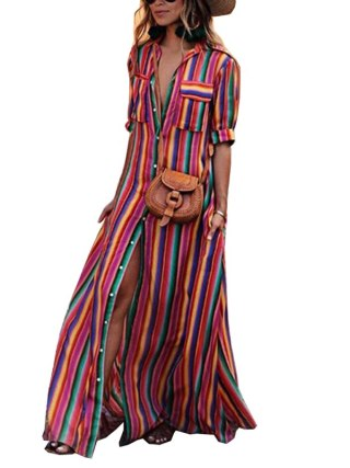 Women Long Maxi Dress Boho Half Sleeve Striped Dress Female Button Turn Down Collar Casual Dresses 18 Autumn Clothing