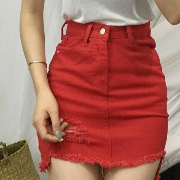 Sexy Women's Skirt Casual Korean Skirts Womens Summer Hole New Mini Skirt Women Fashion Skirts 19 White Black Denim Skirt