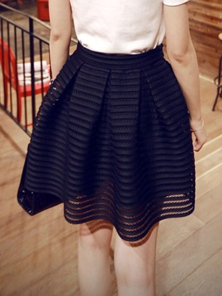 17 Summer New Style Sexy Fashion Skirt Womens Striped Hollow-out Fluffy Long Skirt Swing Skirts Ladies Black/White Ball Gown