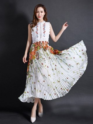 FLOWER SKY Summer Chiffon Floral Printed Female New Fashion Vintage Pleated Skirt Women Long Maxi Party Skirts Womens
