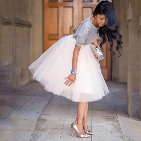 Party Train Puffy 5Layer 60CM Fashion Women Tulle Skirt Tutu Wedding Bridal Bridesmaid Overskirt Petticoat Lolita Saia 19