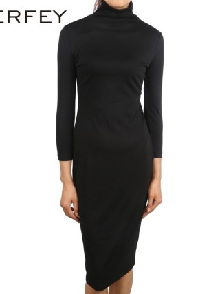 LERFEY Women Autumn Black Dress Half Sleeve Dresses Sheath Office Bussiness Bodycon Turtleneck Dress New Clothings