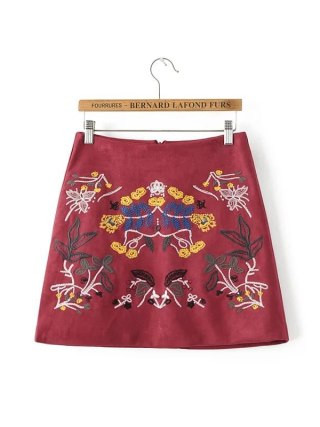 Buenos Ninos vintage burgundy floral embroidery a-line skirt elegant suede all-match autumn winter mini skirts 50