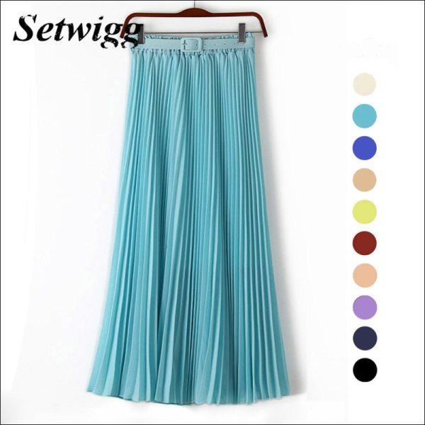SETWIGG 90cm Long Chiffon Accordion Pleated Skirts Elastic Waist Belt Casual Candy Maxi Long Bohemian Summer Skirts SG03