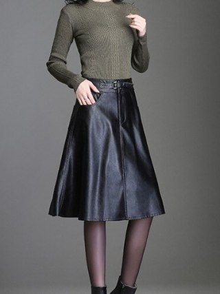 PU Leather Midi Skirt Women work wear office skirt autumn winter 19 PU skirts suit high waist skirt female plus large size 4XL