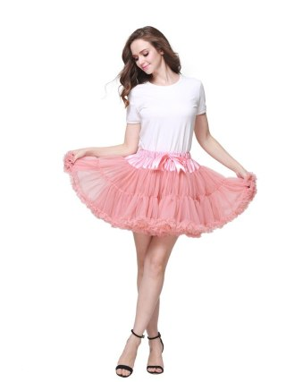 2pc Extra Fluffy Mini Skirt Girl Adult Women Pettiskirt Tutu 2 Layer with Lining Holiday Party Dance Cloth Petticoat Tulle Skirt