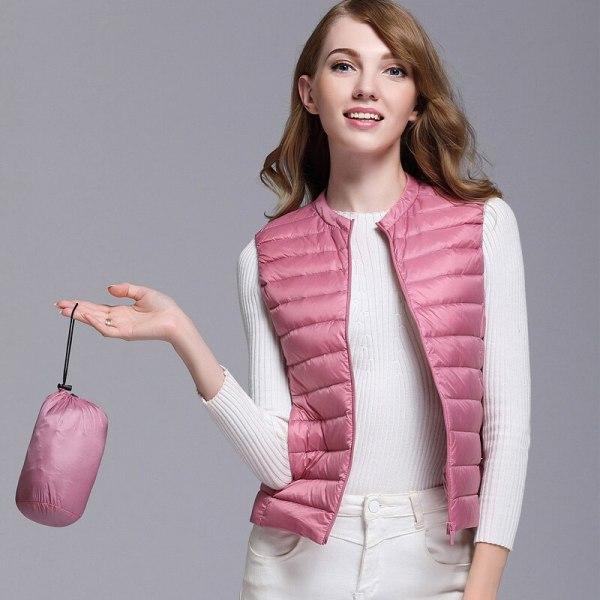 Autumn White Duck Down Women's Short Vest Jacket Sleeveless Portable Office Lady Women Vests Coat 2019 Winter Waistcoat Female