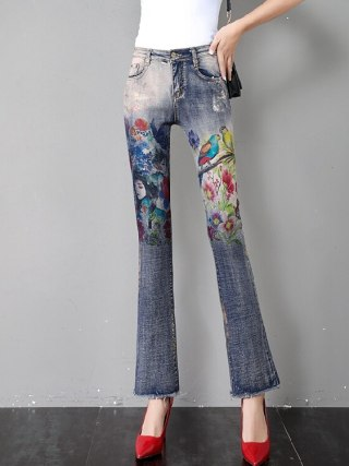 Flare Pants Women Flare Jeans Summer Autumn New Retro Printed Horn Jeans Thin Loose Slim High Waist Burr Pants Ripped Jeans