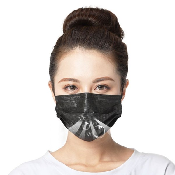 Disposable Protective Face Mask High Efficiency Filtration Adjustable 3D Fitting Design Breathable And Comfortable Black 50 Pcs