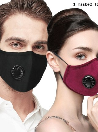 Cotton Face Masks Air Pollution Anti Flu PM2.5 Mouth Mask with Respirator washable reusable Health Care mask with 2 filter