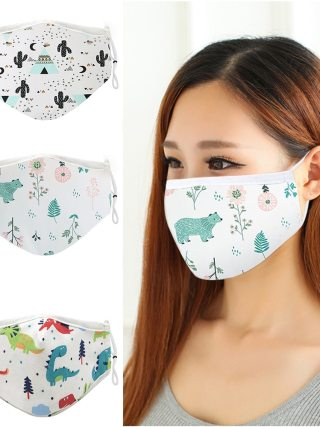 4pcs Reusable Cotton Face Mask Washable Dustproof Mouth Masks Adjustable Strings Cartoon Masks For Men Women Anti Dust Cover