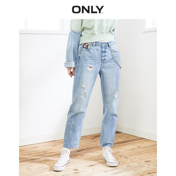 ONLY Women's Loose Straight Fit Ripped Low-rise Crop Jeans |119449517