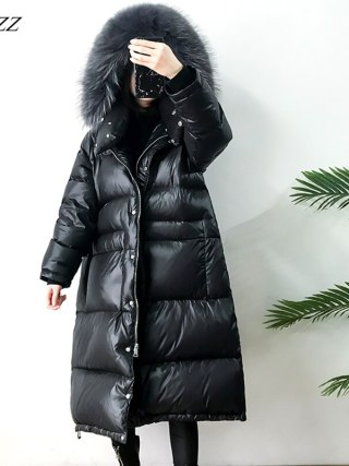 Giant Actual Pure Raccoon Fur Winter Ladies Down Jacket