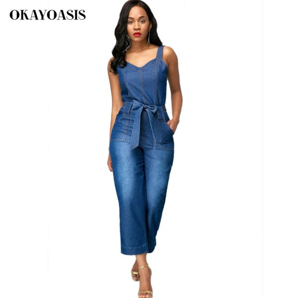 Denims Jumpsuits for Ladies Unfastened Denim Overalls