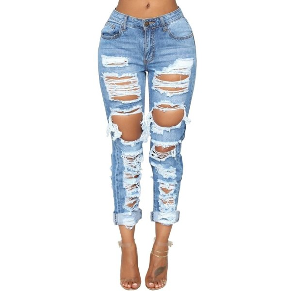 Straight Pants Trousers Mid Waist Casual Skinny Jeans
