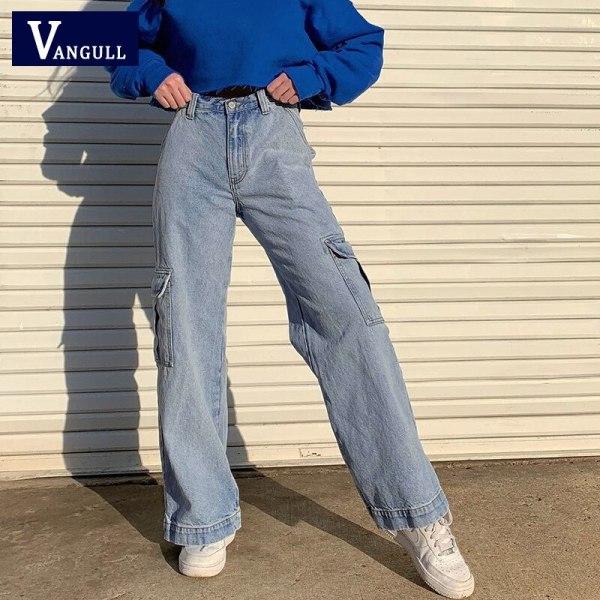 Pockets Patchwork Excessive Waist Denims Ladies Streetwear